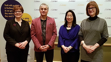 <strong>NorthBEAT Collaborative Media Launch</strong> (from left to right): <strong>Myrna Holman</strong>, Vice President, People Mission and Values, St. Joseph's Care Group; <strong>Bill Mauro</strong>, Members of Provincial Parliament for Thunder Bay-Atikokan; <strong>Dr. Chi Cheng</strong>, NorthBEAT Project Lead; <strong>Lesley Bell</strong>, Ontario Trillium Foundation Youth Opportunities Fund