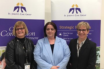 <strong>Expanding St. Joseph's Health Centre</strong> (from left to right): <strong>Tracy Buckler</strong>, President &amp; CEO; <strong>Kristine Quaid</strong>, Lead, Peer Connections, <strong>Janet Sillman</strong>, Vice President, Addictions &amp; Mental Health